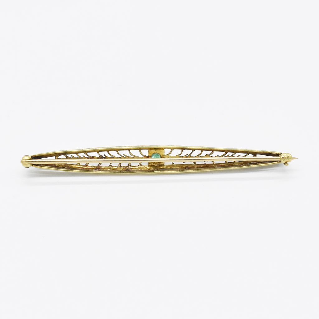 14k White & Yellow Gold Antique Emerald Filigree Bar Pin