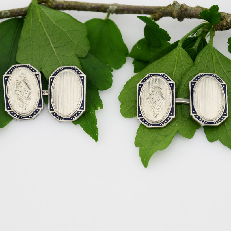 10k White Gold Antique Enamel Initial/Letter Cufflinks