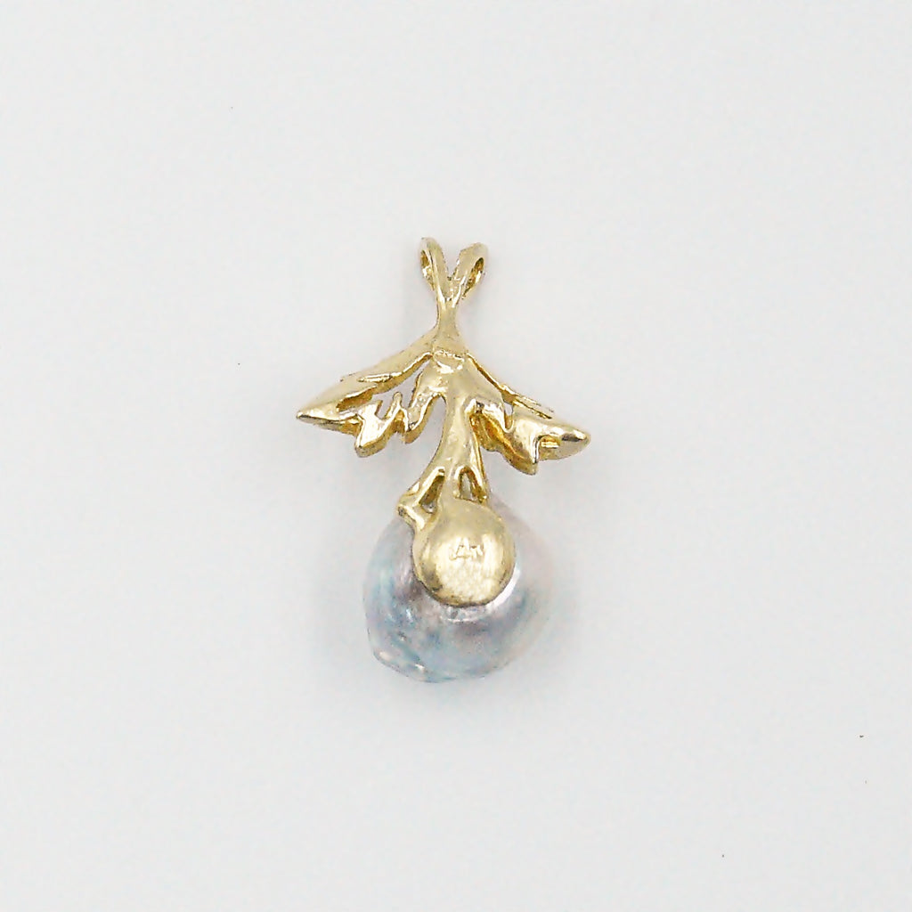 14k Yellow Gold Estate Double Leaf Baroque Pearl Pendant