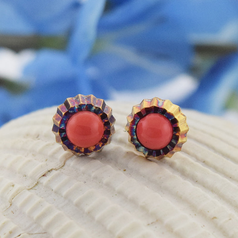 18k Yellow Gold Antique Coral Post Earrings