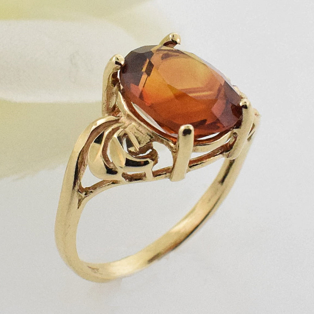 14k YG Open Work Oval Citrine Ring Size 6.75