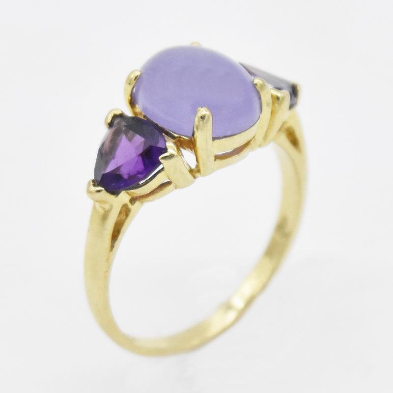 14k Yellow Gold Estate Amethyst & Purple Jade Ring Size 7