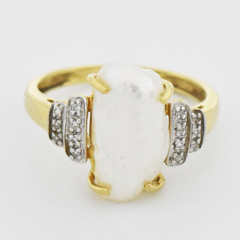 14k Yellow Gold Estate Blister Pearl & Diamond Ring Size 7