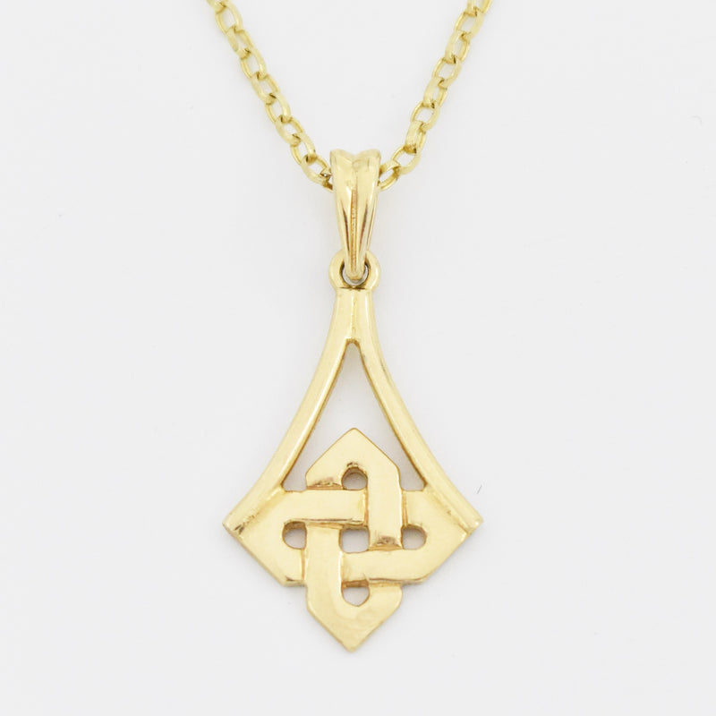 "10k Yellow Gold Estate 18"" Trinity Knot Irish Celtic Necklace"