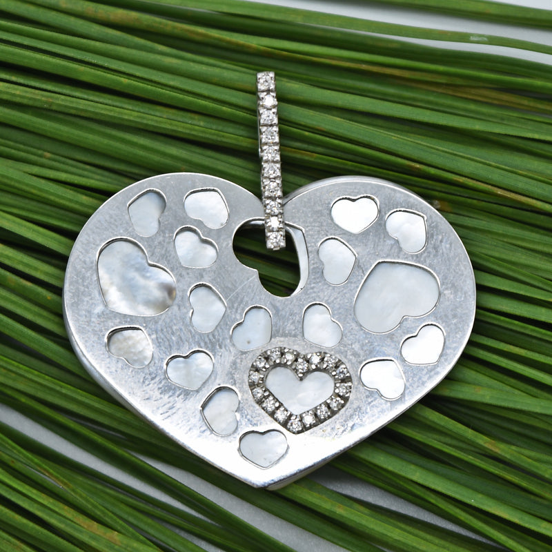 18k White Gold NANIS Diamond & Mother Of Pearl Double Heart Pendant