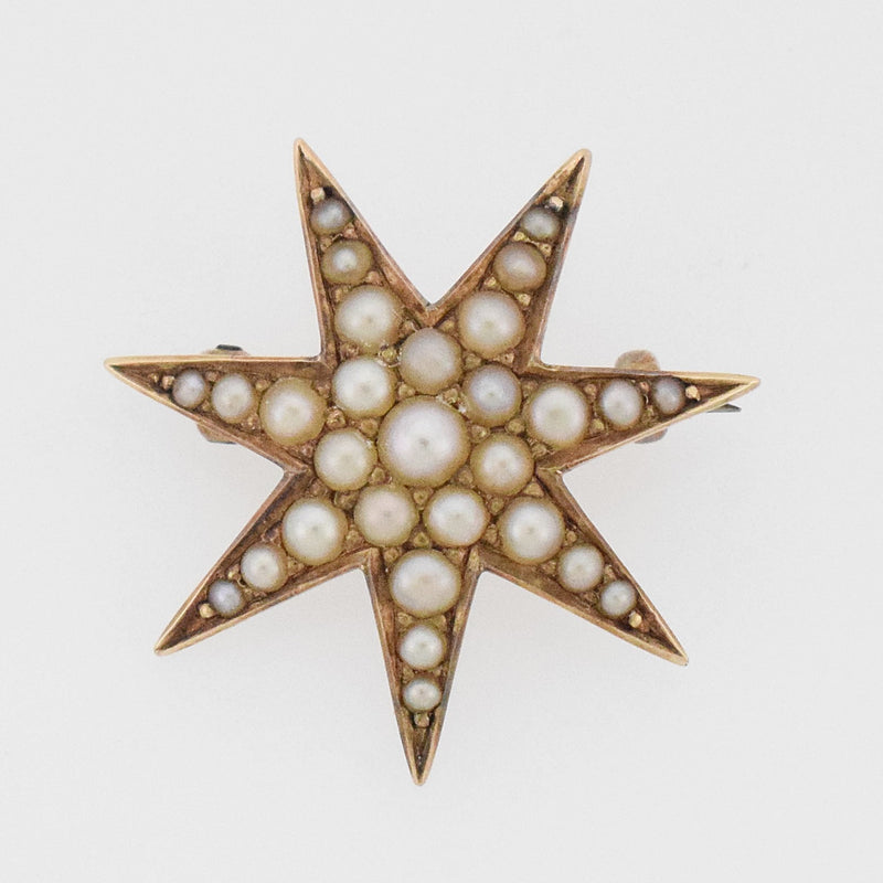 10k YG Antique Star/ Starburst Pearl Pin