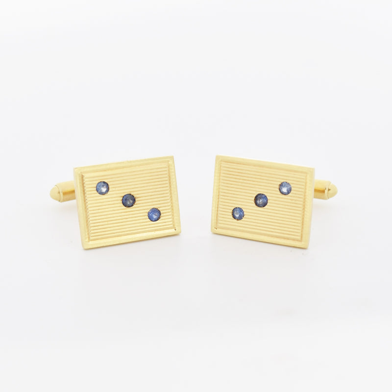 14k Yellow Gold Vintage Textured 3 Stone Sapphire Cuff Links