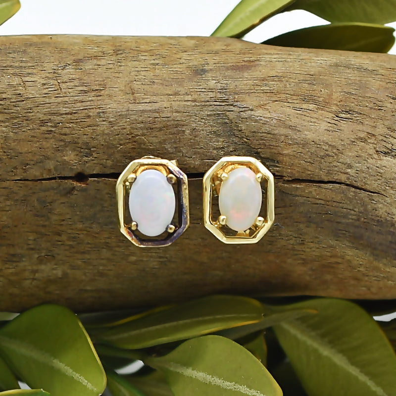 14k Yellow Gold Estate Fire Opal Post Earrings