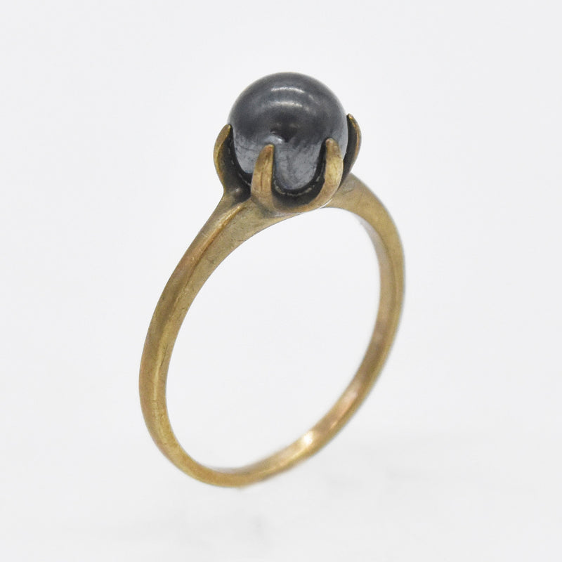 10k Yellow Gold Estate Black Pearl Ring Size 7.25