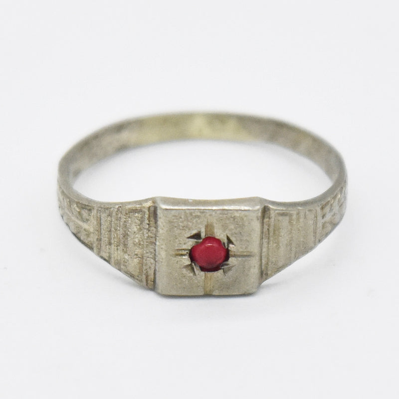 10k White Gold Antique Textured Red Gemstone Baby Ring Size 1.75