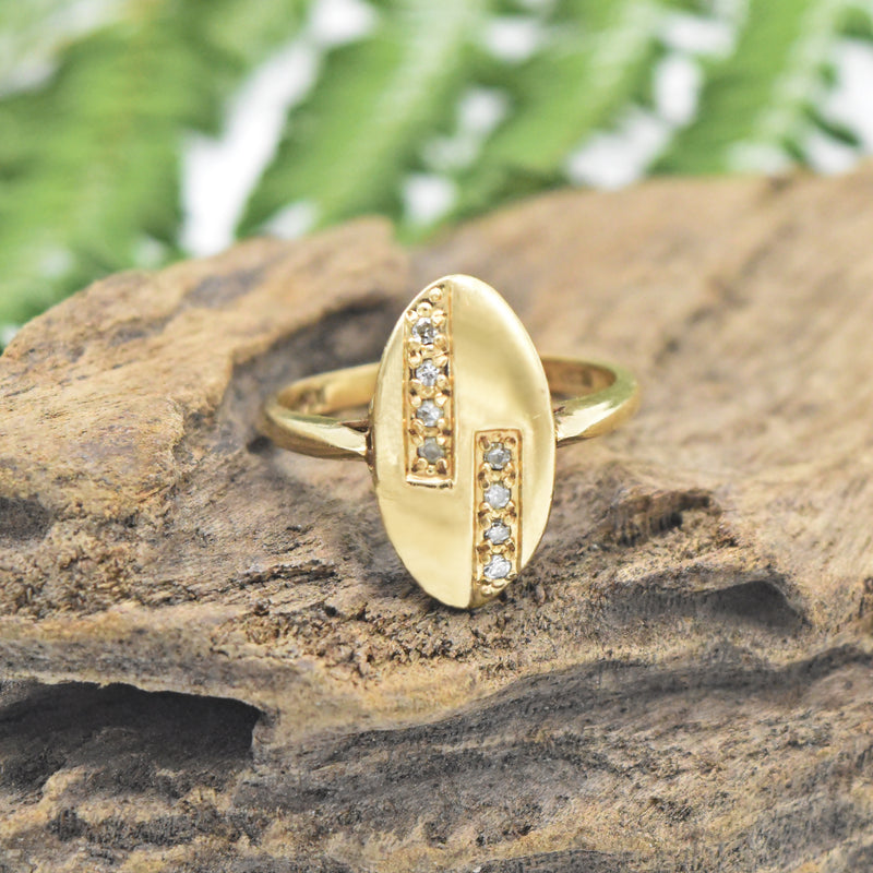 10k Yellow Gold Vintage Oval 2 Row Diamond Ring Size 6.5