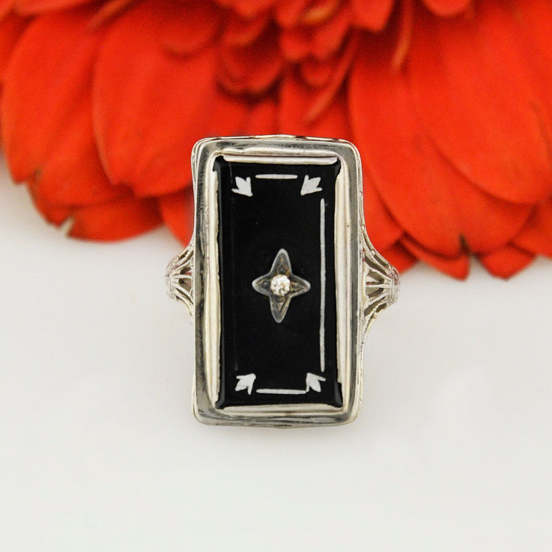 10k White Gold Art Deco Black Onyx & Diamond Filigree Ring Size 5.75