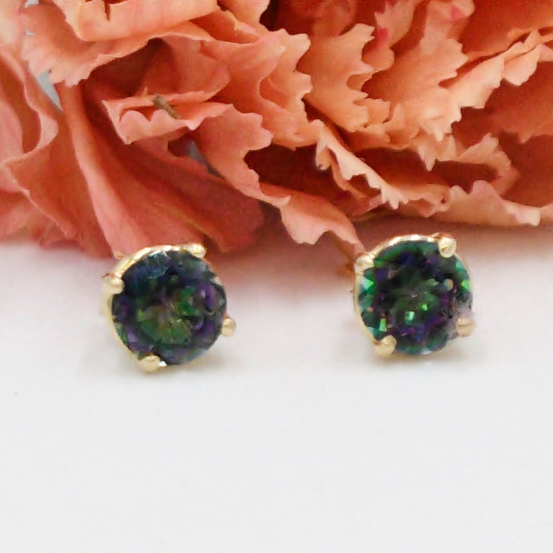 14k Yellow Gold Estate Mystic Topaz Gemstone Post Earrings