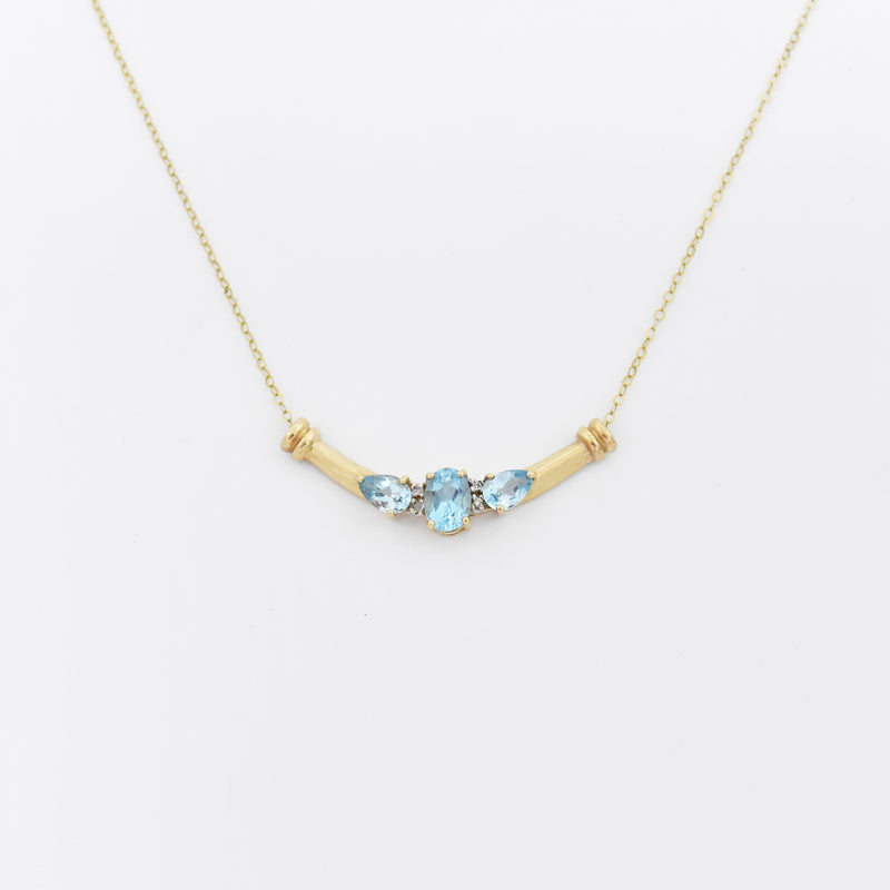 "10k Yellow Gold 19.5"" 3 Stone Blue Topaz & Diamond Necklace"