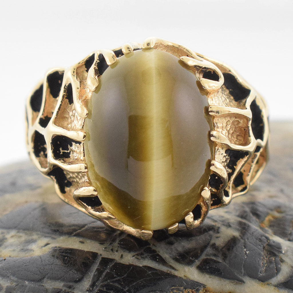 14k YG Vintage Heavy Carved Cabochon Tiger Eye Ring Size 14.25