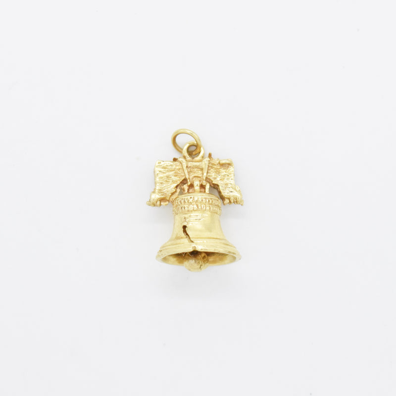 14k Yellow Gold Estate Textured Liberty Bell Charm/Pendant