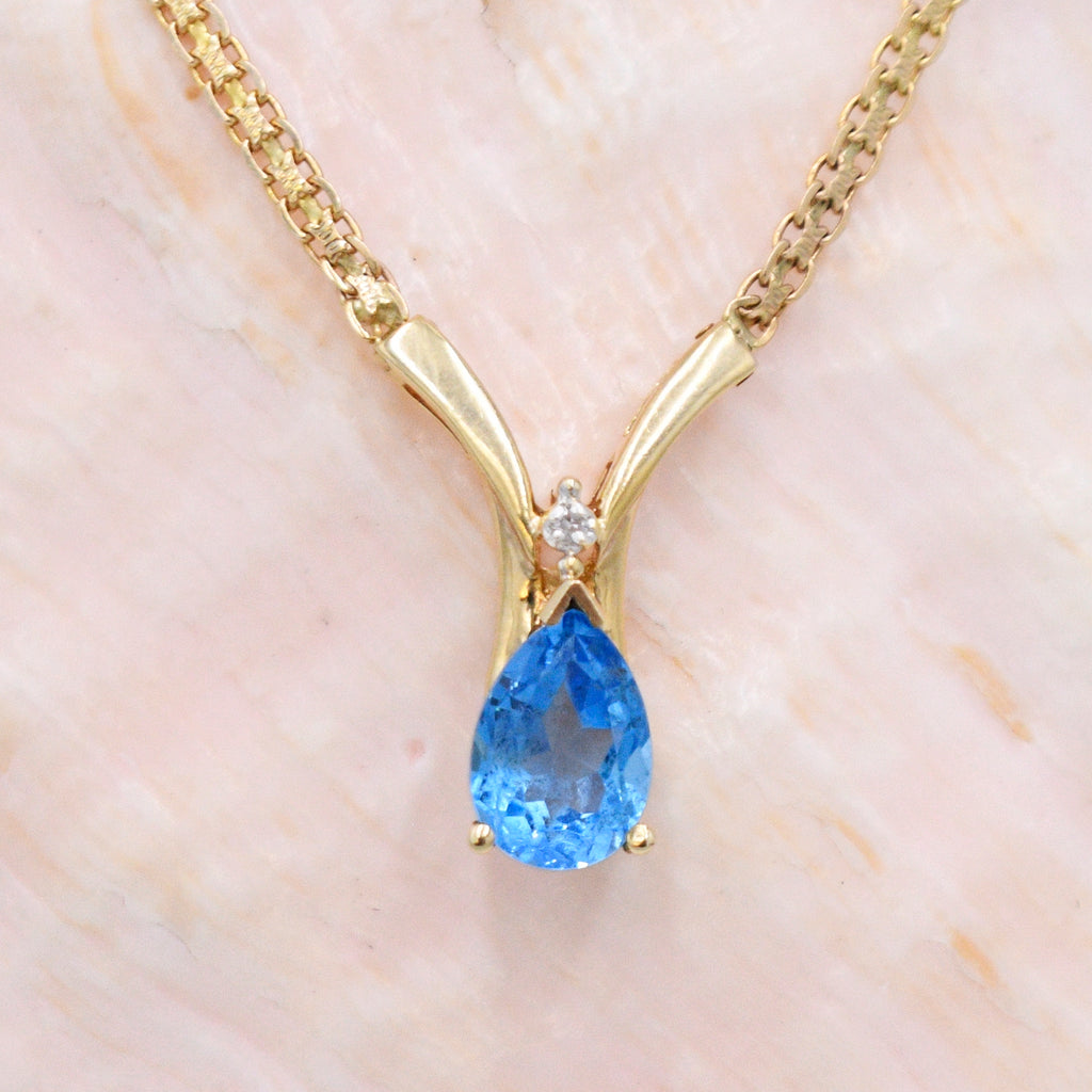 "14k YG Teardrop Blue Topaz & Diamond Choker Necklace 18 1/2"" Long"