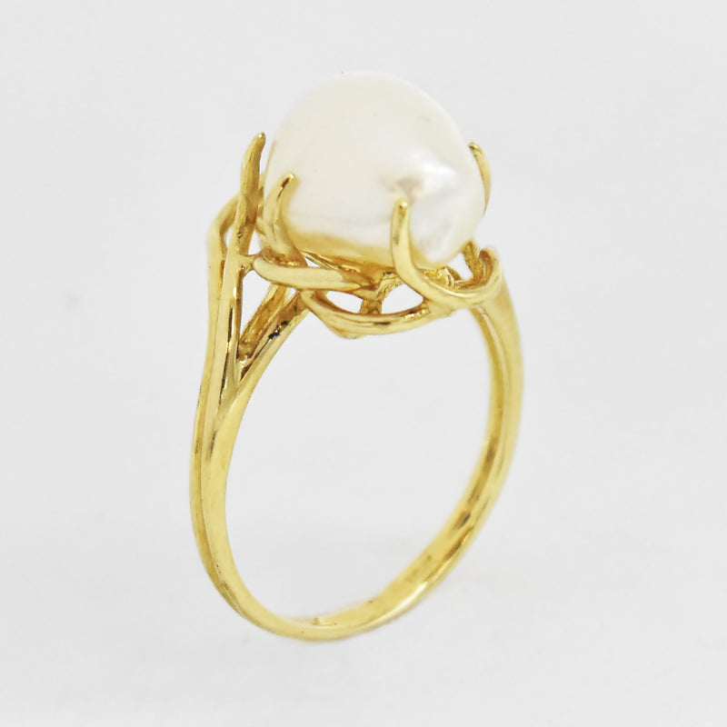 10k Yellow Gold Estate Open Work Mabel Pearl Ring Size 5.75
