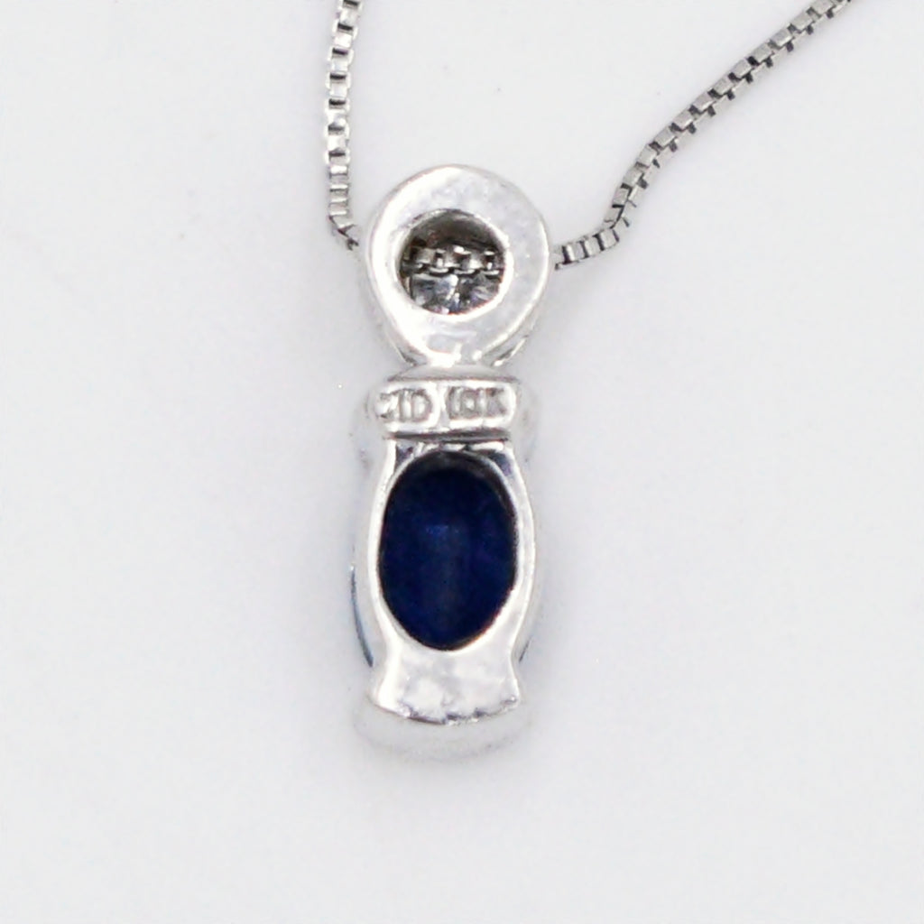 "10k White Gold Estate Box Link Sapphire & Diamond Necklace 18"" Long"