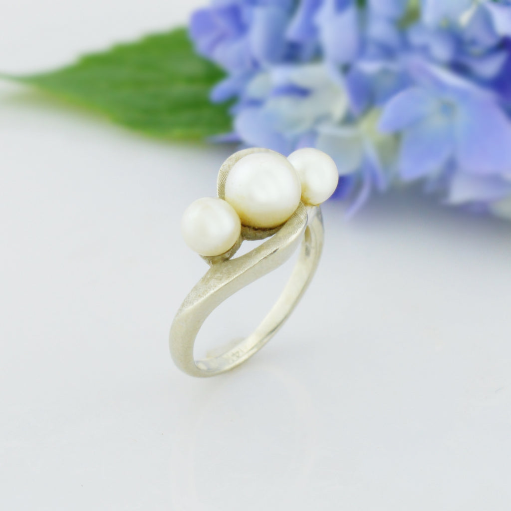 14k White Gold Estate Pearl Multistone Ring Size 6