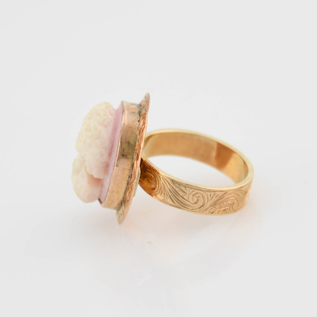 14k Yellow Gold Antique Ornate Cameo Ring Size 10