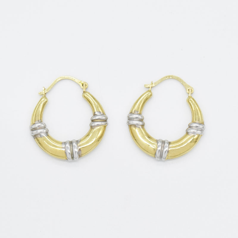 "14k Yellow & White Gold Estate 3/4"" Textured Hoop Earrings"