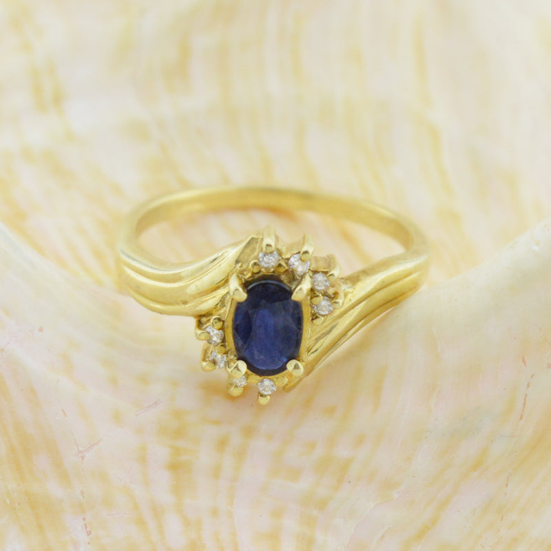 14k Yellow Gold Estate Sapphire & Diamond Ring Size 6.75