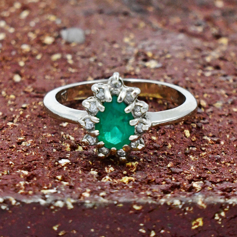 14k White Gold Diamond & Green Spinel Gemstone Statement Ring Sz 6.75