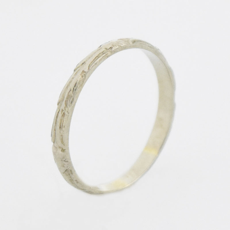 14k White Gold Antique Carved Wedding Band/Ring Size 2.75