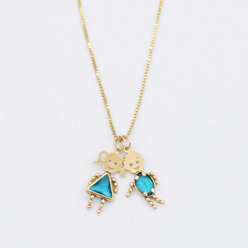"14k YG 18 1/4"" Teal Gem Boy/Girl Figures Birthstone Charm/Necklace"