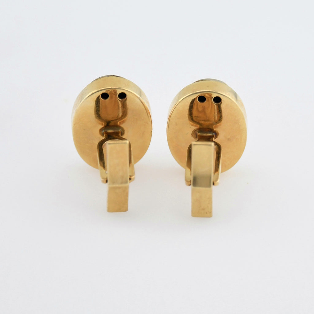 14k Yellow Gold Vintage Textured Diamond Cufflinks