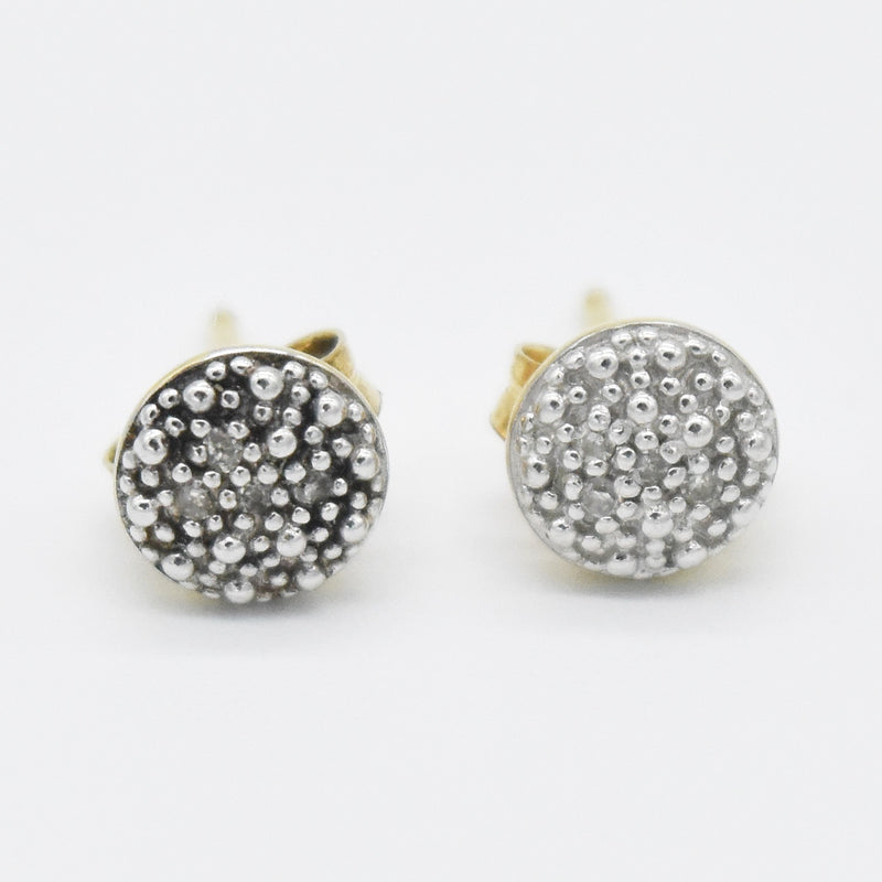14k Yellow & White Gold Estate Diamond Cluster Post Earrings