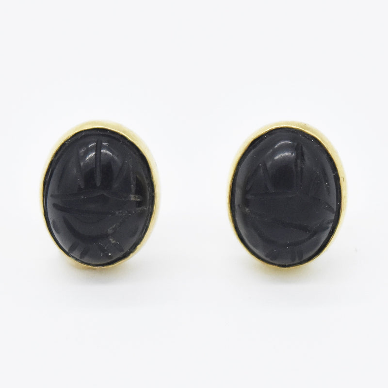 14k Yellow Gold Estate Black Onyx Scarab Post Earring