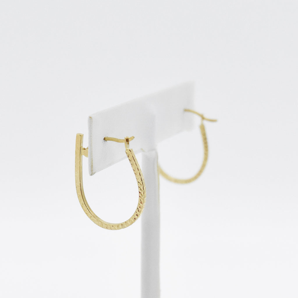 "14k Yellow Gold Estate 1"" Textured Oval Hoop Earrings"