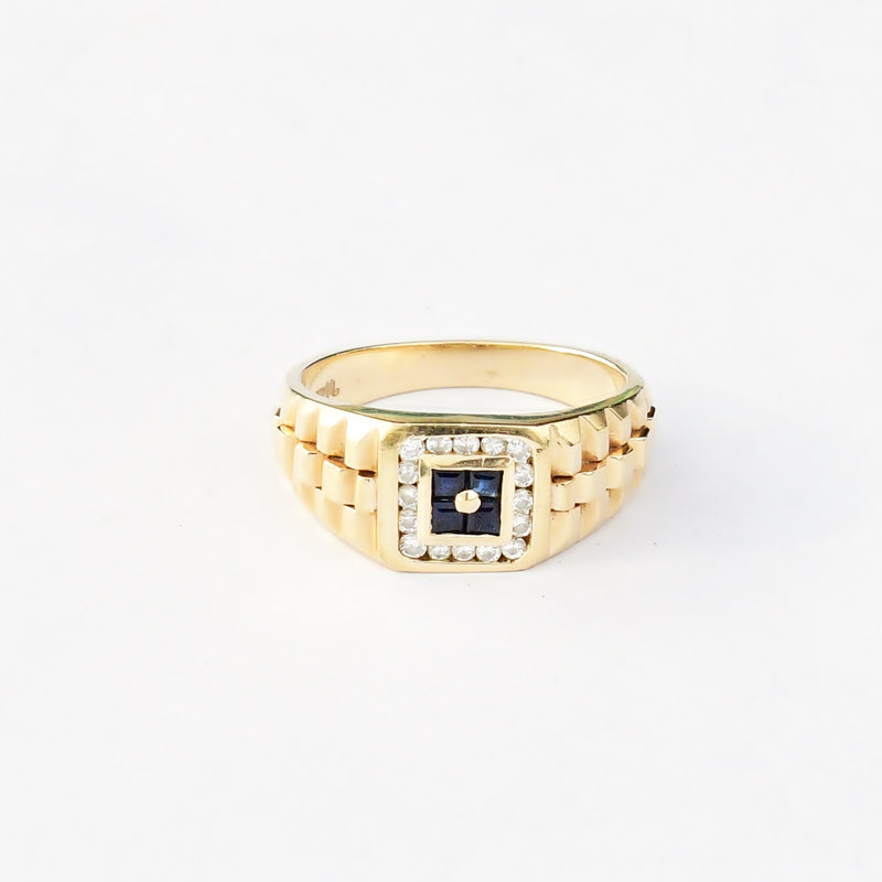 14k Yellow Gold Estate Textured Sapphire & Diamond Ring Size 9.75