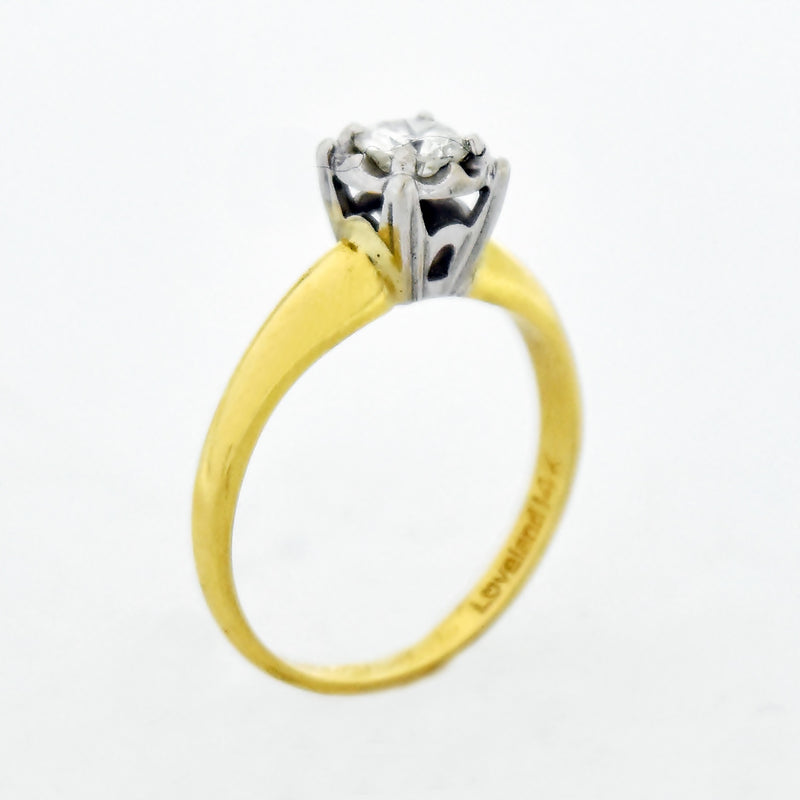 14k Yellow Gold Estate Diamond Engagement Ring Size 6