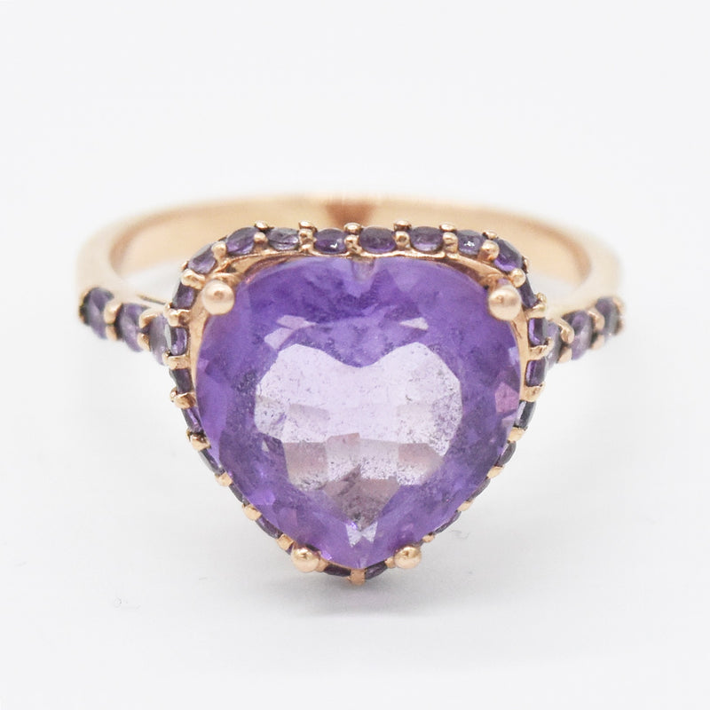 10k Rose Gold Open Work Heart Shape Amethyst Ring Size 9.25