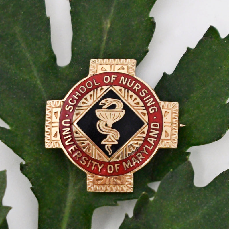 14k Yellow Gold Vintage Enamel University Of Maryland/Md Nursing Pin
