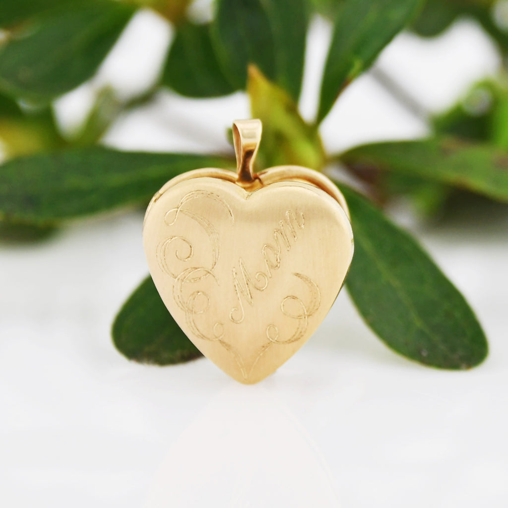 14k Yellow Gold Estate Engraved Mom Heart Locket Pendant
