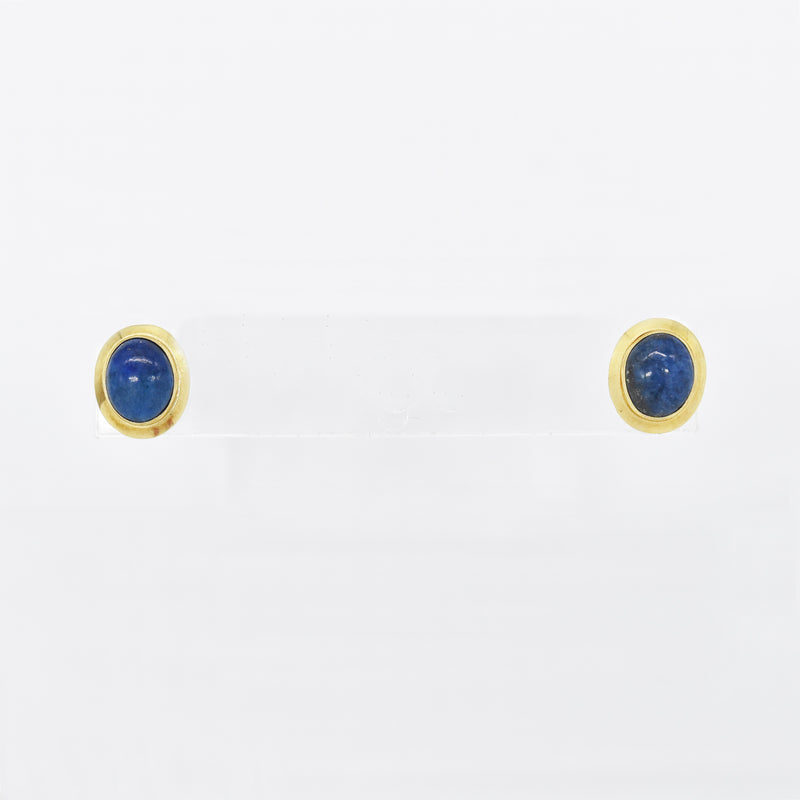 14k Yellow Gold Estate Oval Lapis Post Earrings