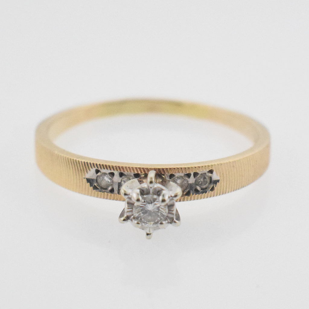 14k YG Vintage Diamond 0.10 tcw Engagement Ring Size 7.75