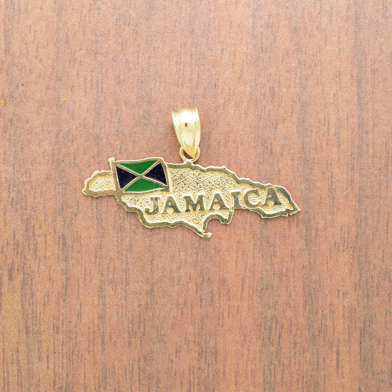 10k Yellow Gold Estate Textured Enamel Jamaica Pendant