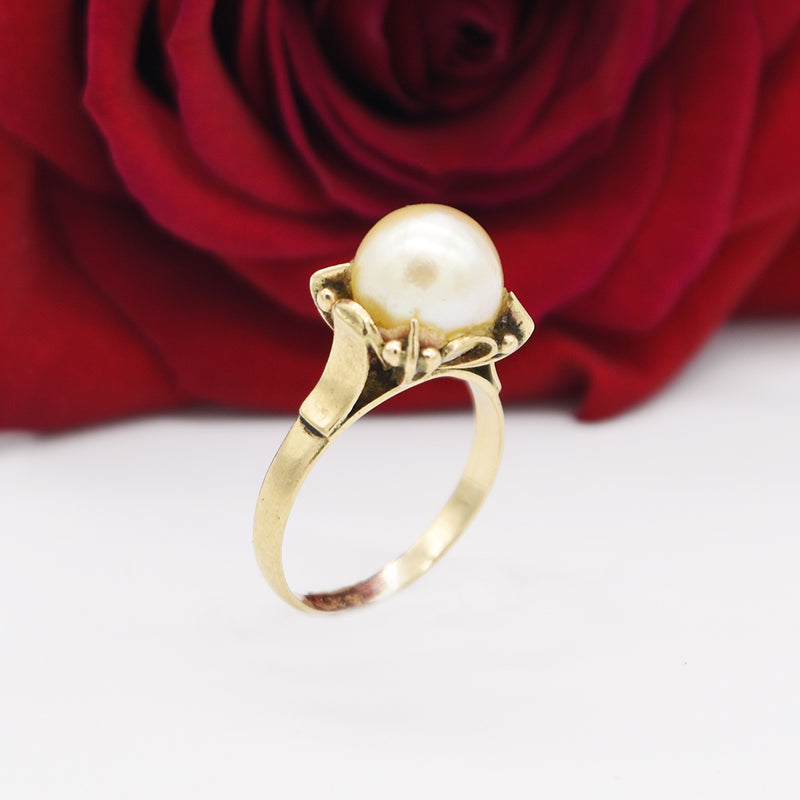 10k Yellow Gold Antique Ornate Pearl Ring Size 6