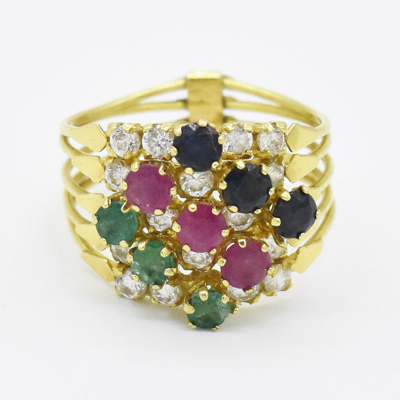 18k Yellow Gold Estate Sapphire Ruby Emerald & Quartz Stack Ring Sz 9