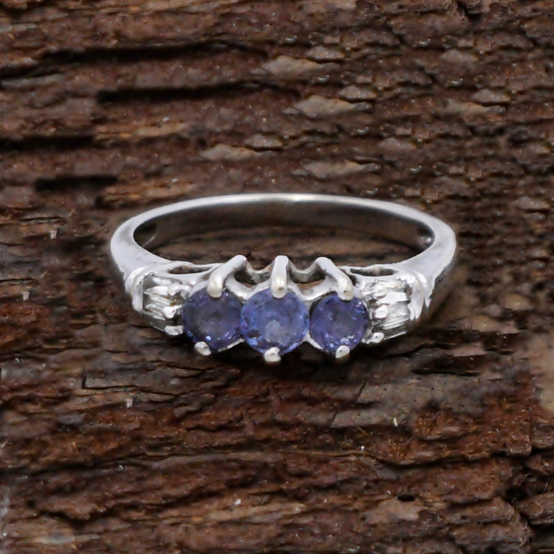 14k White Gold Estate 3 Stone Tanzanite & Diamond Ring Size 7
