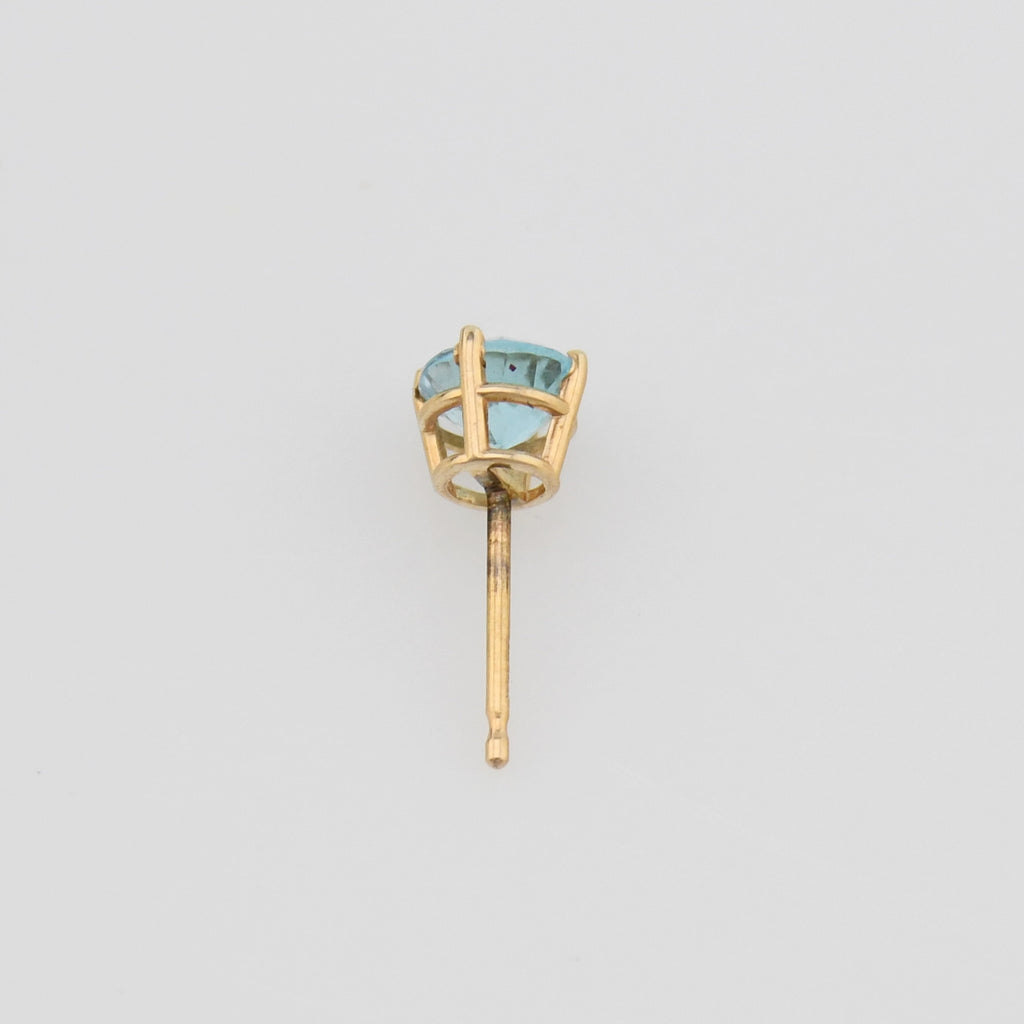 14k Yellow Gold Estate Light Blue Topaz Stud Earring
