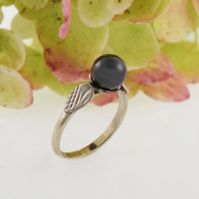 18k White Gold Estate Diamond Cut Black 6.4 mm Pearl Ring Size 5
