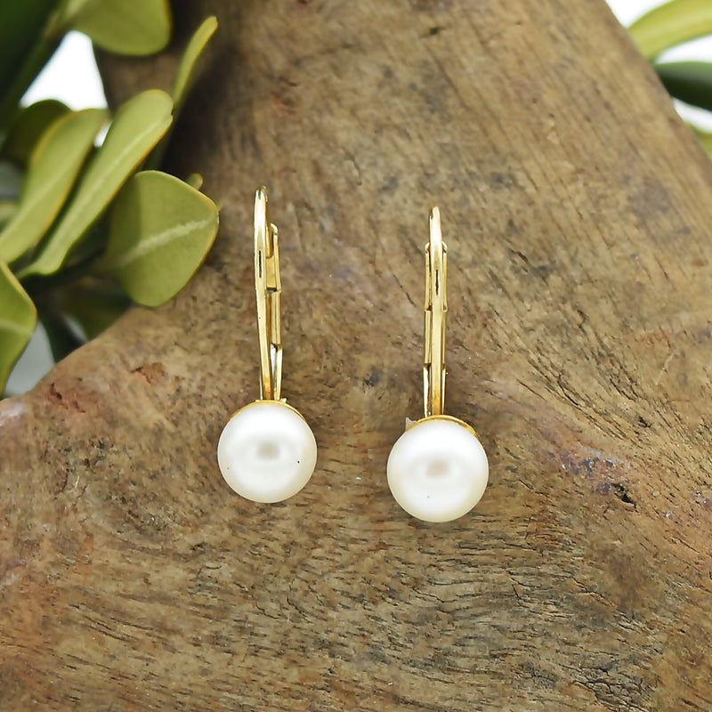 14k Yellow Gold Estate Leverback Pearl Earrings