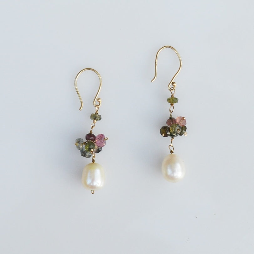 14k Yellow Gold Estate Multi Colored Gemstone & Pearl Dangle/Drop Earrings