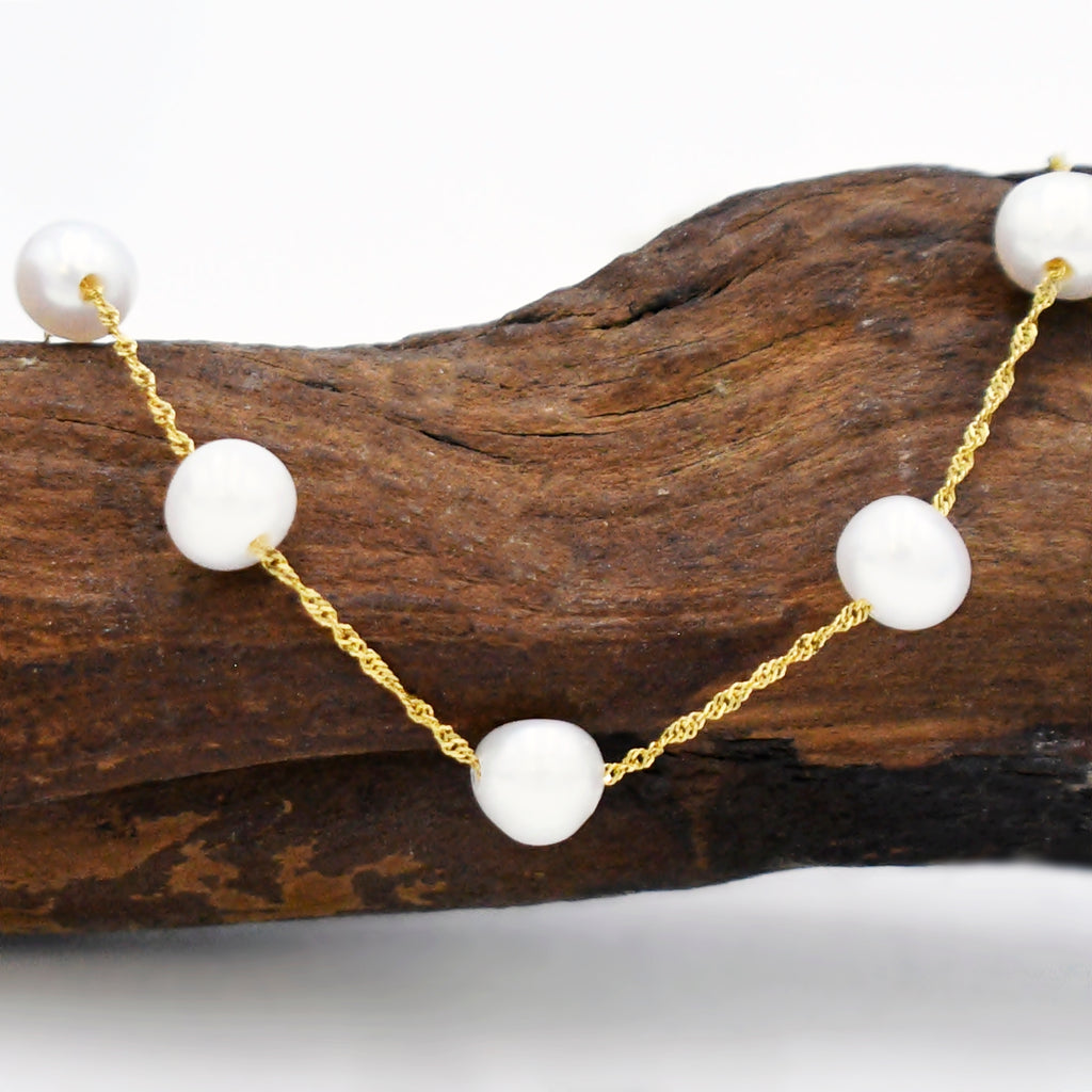 14k Yellow Gold Estate Designer Effy Pearl Choker Necklace 17 3/4""